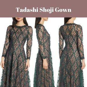 NEW Tadashi Shoji 3D Appliqué Embroidery Lace Gown